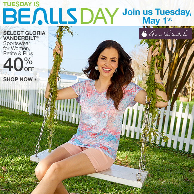 Tuesday is Bealls Day! Shop 40% Off Select Gloria Vanderbilt Sportswear