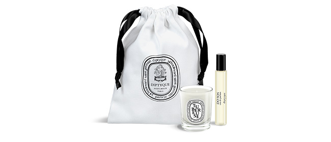 diptyque offers you a complimentary set with Tubreuse candle 35g and 10ml Do Son Eau de Parfum on diptyqueparis.com and in diptyque boutiques.*