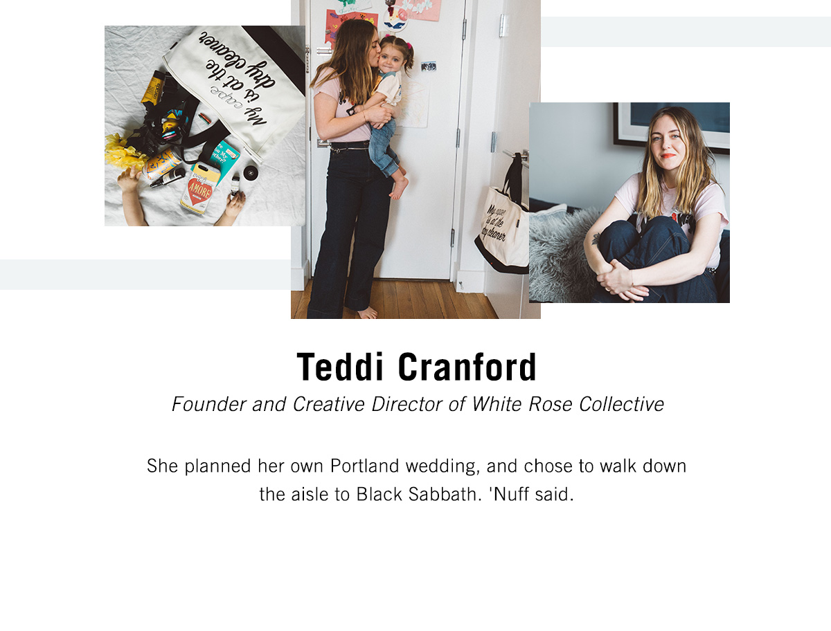 Teddi Cranford - Founder and Creative Director of White Rose Collective - She planned her own Portland wedding, and chose to walk down the aisle to Black Sabbath. 'Nuff said.