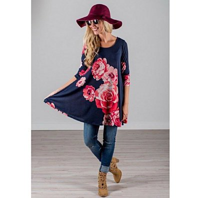 Rose Garden Soft T-Shirt Tunic Dress