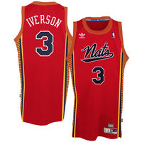 Mens Philadelphia 76ers Allen Iverson adidas Red Hardwood Classics Swingman Jersey-
