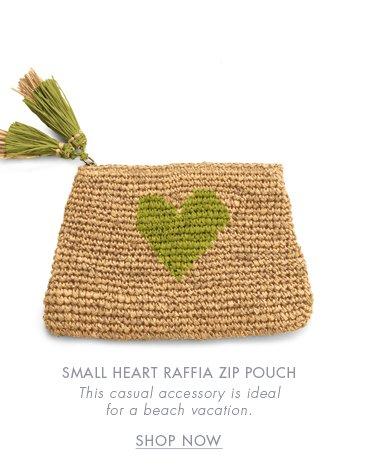 SMALL HEART RAFFIA ZIP POUCH