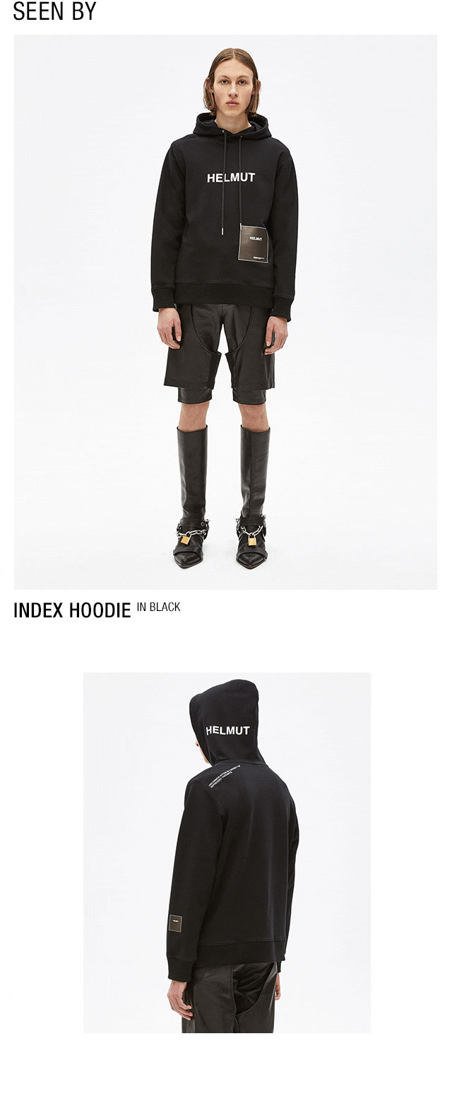 HELMUT LANG seen by Shayne Oliver Index Hoodie - Black