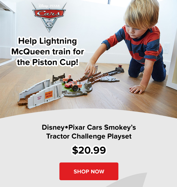 Help Lightning McQueen train for the Piston Cup! DisneyPixar Cars Smokeys Tractor Challenge Playset $20.99 SHOP NOW
