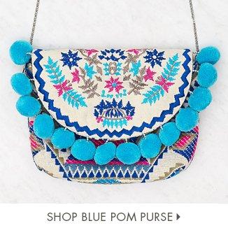 Shop Blue Pom Purse