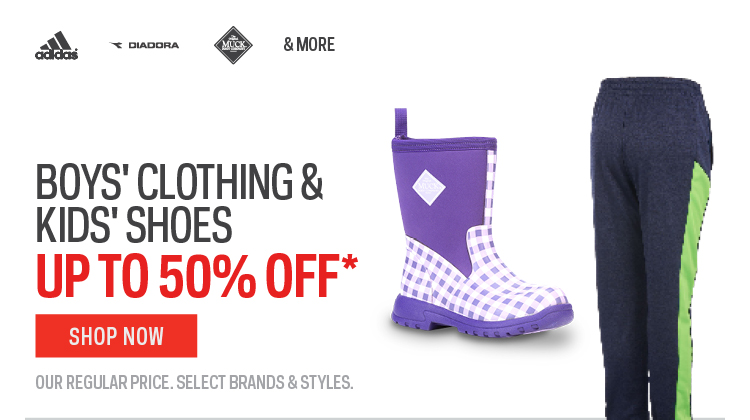 Boys Clothing & Kids Shoes up to 50% off*