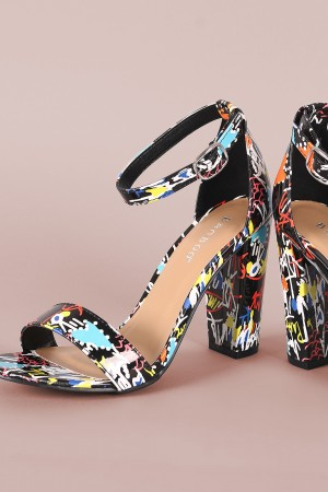 Bamboo Printed Open Toe Ankle Strap Chunky Heel