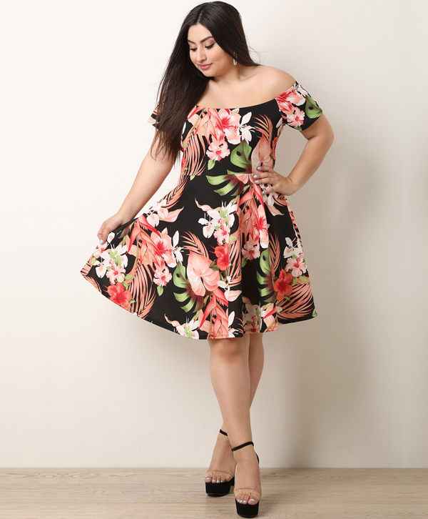 Floral Print Off-The-Shoulder Fit And Flare Dress