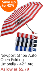 "Newport Stripe Auto Open Folding Umbrella - 42"" Arc"