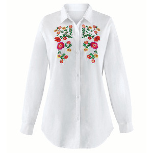 Floral Embroidered White Button Down Shirt