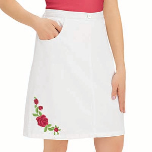 Rose Embroidered Pull-On Skort with Pockets