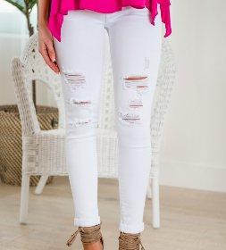 Baja Ready White Distressed Denim Skinny Jeans