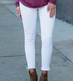 Ready For The Runway Ankle Zip Jeans White
