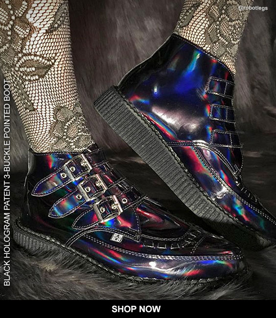 SHOP BLACK HOLOGRAM PATENT 3-BUCKLE POINTED BOOT