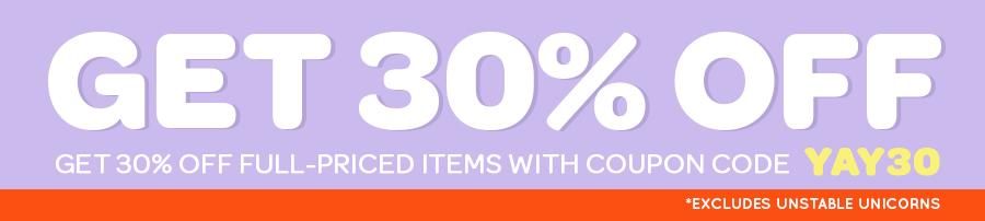 Get 30% off full-priced items with coupon code YAY30