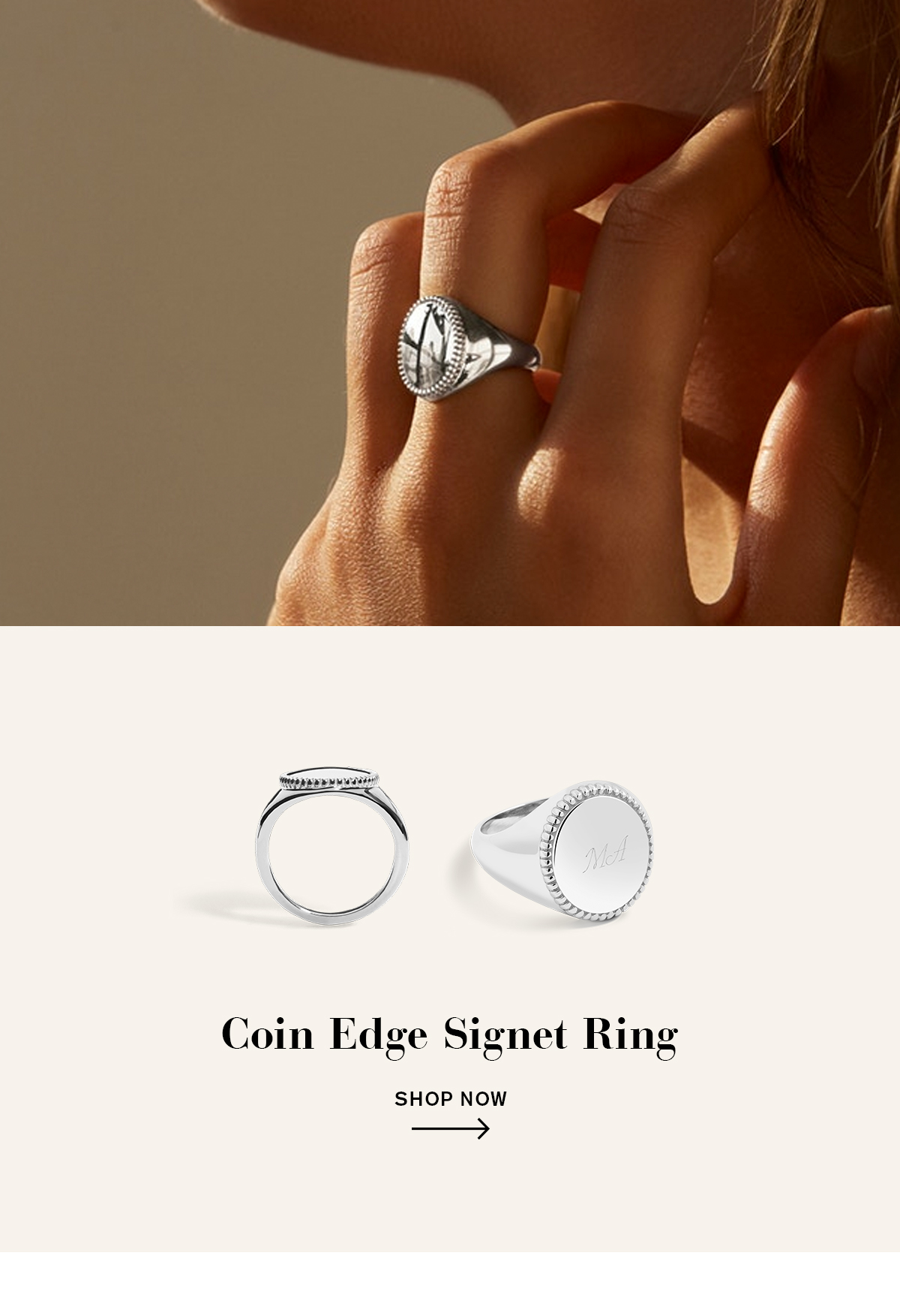 Coin Edge SIgnet Ring