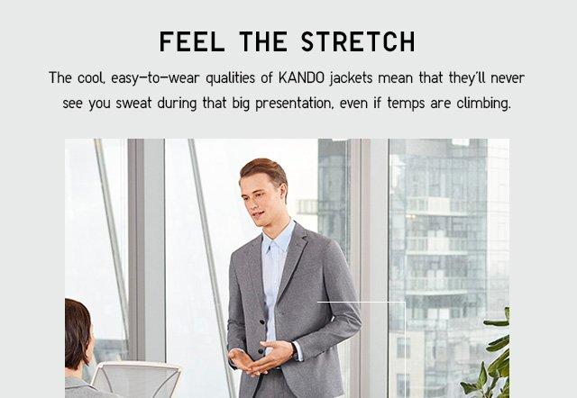 FEEL THE STRETCH - MEN KANDO JACKET $49.90 - MEN KANDO PANTS $29.90 - SHOP MEN