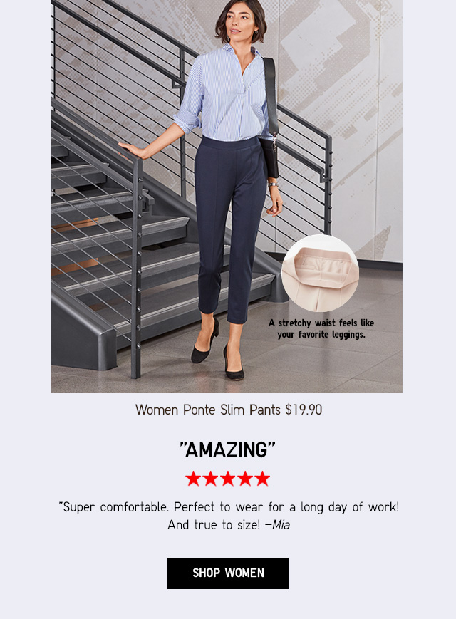 SPRNG LOOKS THAT WORK - WOMEN PONTE SLIM PANTS $19.90 - SHOP WOMEN