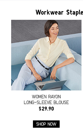 WOMEN RAYON LONG-SLEEVE BLOUSE $29.90 - SHOP NOW