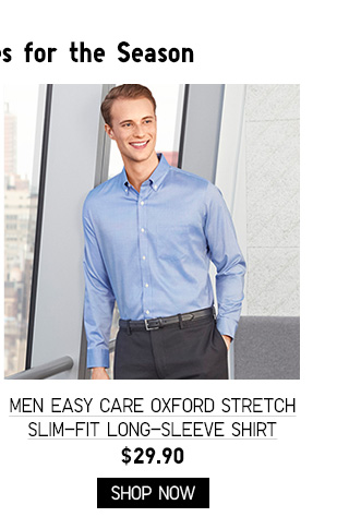 MEN EASY CARE OXFORD STRETCH SLIM-FIT LONG-SLEEVE SHIRT $29.90 - SHOP NOW
