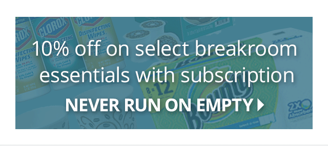 10% off on select breakroom essentials with subscription