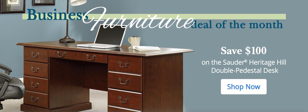 Save $100 on the Sauder Heritage Hill Double Pedestal Desk