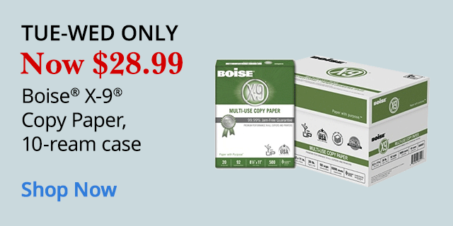 Tue - Wed Only $28.99 Boise X-9 Copy Paper 10 Ream Case