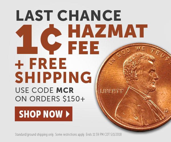 Today only - 1 Hazmat Fee + Free Shipping on orders of $150.