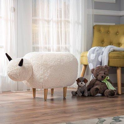 Pearcy White Velvet Sheep Ottoman Pouf