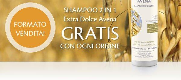 Shampoo 2 in 1 extra dolce avena GRATIS con ogni ordine.