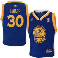 adidas Golden State Warriors Stephen Curry Toddler Replica Road Jersey - Royal Blue