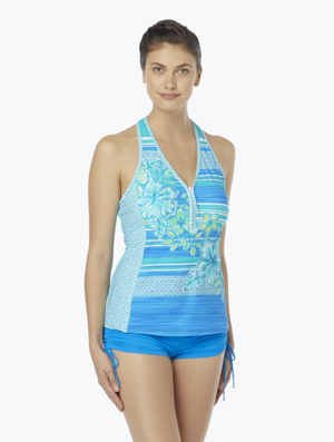 BEACH HOUSE ERINNA RACERBACK ZIP FRONT TANKINI TOP - SEA LA VIE