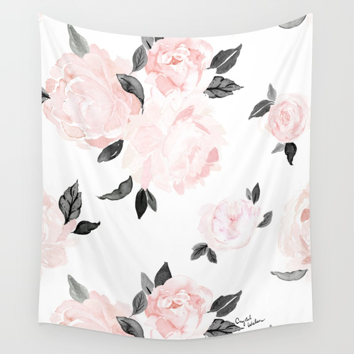 Vintage Blush Floral - BW by CRYSTAL WALEN