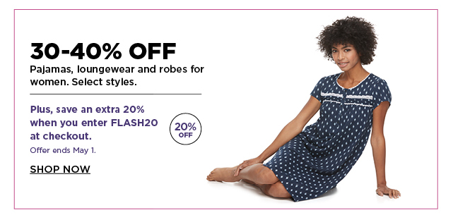save 30 to 40 percent off pajamas, loungewear, and robes for women. select styles. shop now.