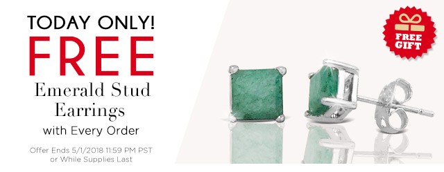 Today Only! Free Emerald Stud Earrings with Every Order