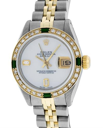 ROLEX 18K Gold and Stainless Steel Watch With 0.95ctw Diamonds and Emeralds