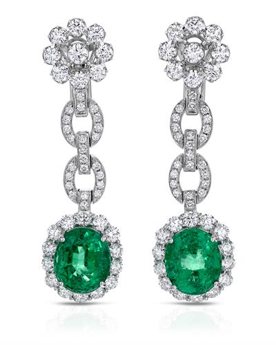 18K White Gold Dangle Earrings With 20.46ctw Diamonds and Emeralds