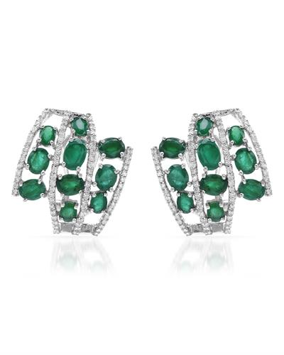 18K White Gold Earrings With 6.73ctw Diamonds and Emeralds