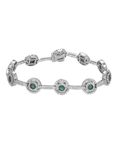 14K White Gold Bracelet With 5.31ctw Diamonds and Emeralds