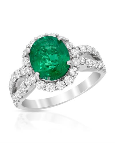 18K White Gold Ring With 3.34ctw Diamonds and Emerald