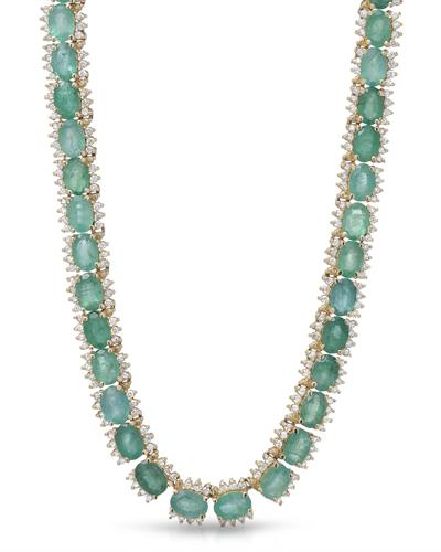 LUNDSTROM 14K Yellow Gold Necklace With 39.00ctw Diamonds and Emeralds