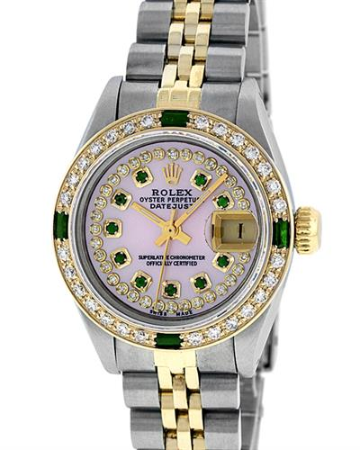 ROLEX Gold and Stainless Steel Watch With 1.13ctw Diamonds and Emeralds