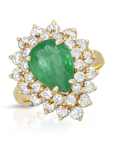 14K Yellow Gold Cocktail Ring With 4.35ctw Diamonds and Emerald