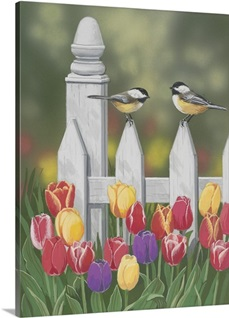 Chickadees and Tulips by William Vanderdasson