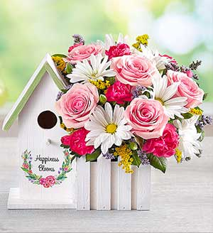 Happiness Blooms(TM) Birdhouse - Pink Same-Day Local Florist Delivery SHOP NOW