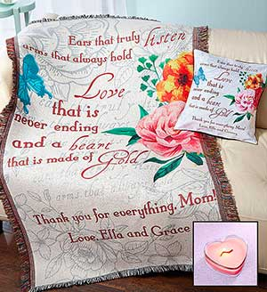 Personalized Mother's Day Blanket  and Pillow Set SHOP NOW