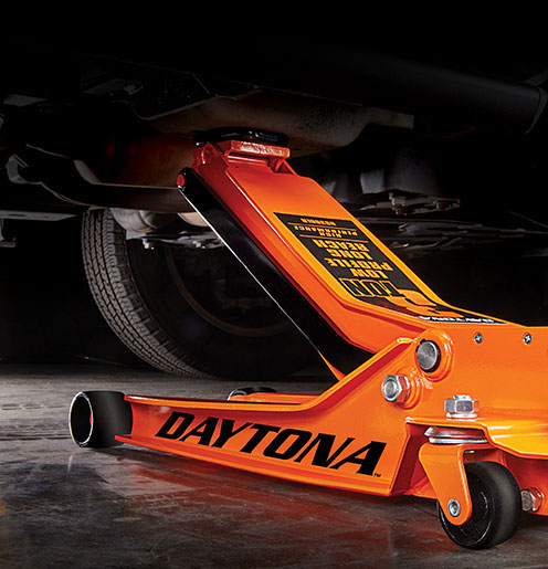 Orange Daytona Helmets 3 ton Steel Heavy Duty Low Profile Floor Jack with Rapid Pump
