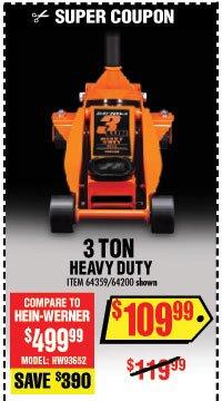 Daytona Helmets 3 ton Steel Heavy Duty Low Profile Floor Jack with Rapid Pump Black
