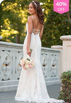 0f860b14748 Lace Spaghetti Straps Neckline Natural Waistline Mermaid Wedding DressUS   157.19 US  261.99