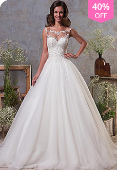 6be905b5c68 Junoesque Tulle Bateau Neckline A-Line Wedding Dress With Lace AppliquesUS   179.39 US  298.99